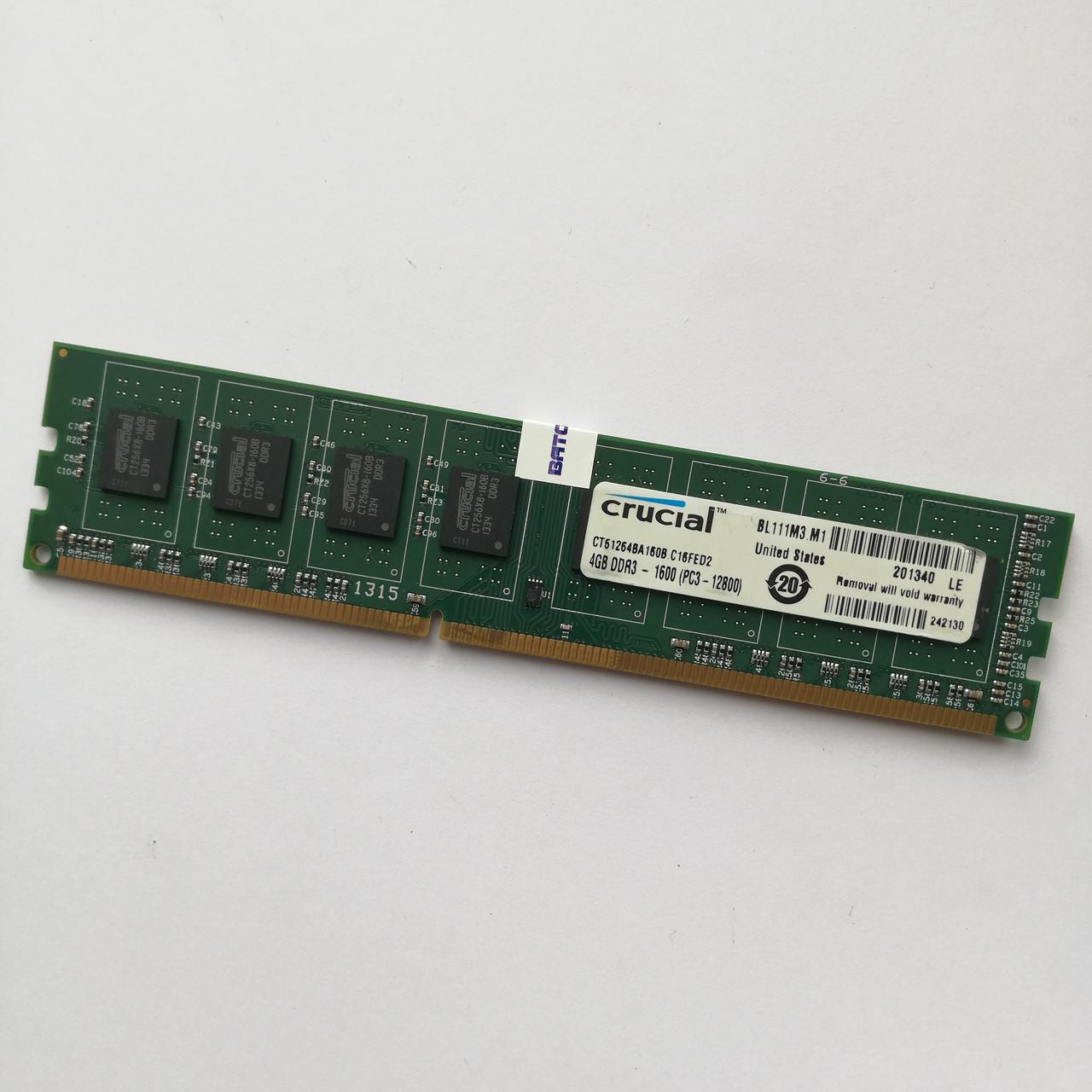 Оперативная память Crucial DDR3 4Gb 1600MHz PC3-12800U CL11 (CT51264BA160B.C16FED2) Б/У