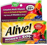 Nature's Way, Alive! Women's 50+ мультивитамины + минералы+ экстракты для женщин, 50 таблеток