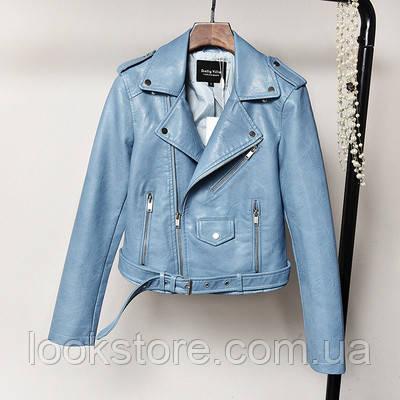 Женская куртка косуха из кожзама голубая S