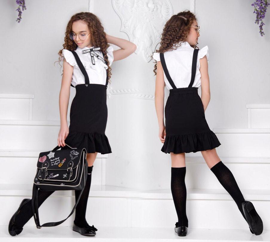 """Детская стильная юбка-сарафан 443 """"Креп Волан"""" в школьных расцветках"""