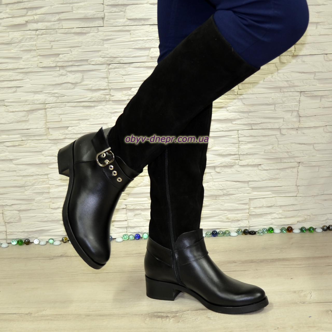 Сапоги женские демисезонные комбинированные на невысоком каблуке