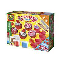 Масса для лепки незасыхающая Фруктовые кексы 4 цвета в пластиковых баночках с инструментами Ses 00479S