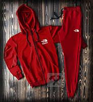 Спортивный костюм с капюшоном на молнии Supreme & North Face красного цвета