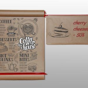 Дошка меню для кафе 86 см Корпус Червоний, Крафт-папір в рулоні 100 м