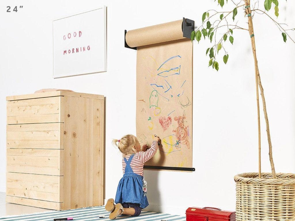 Бумага для рисования в рулоне с креплением на стену  Melmark 86см. Корпус-салатовый, бумага-крафт 100м.