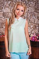 Шифоновая женская блуза-безрукавка с воротничком 953, фото 1