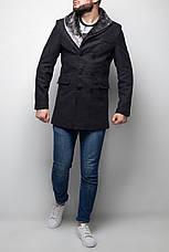 Мужское серое шерстяное (70%) демисезонное пальто с съемным меховым воротником , фото 3