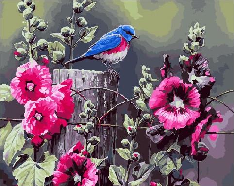 Картина по номерам Синица и мальва, 40x50 см., Brushme
