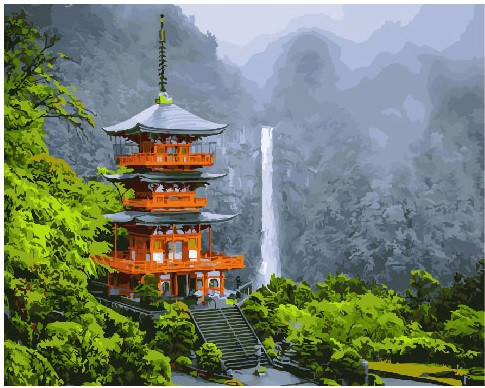 Картина по номерам Японская пагода, 40x50 см., Brushme