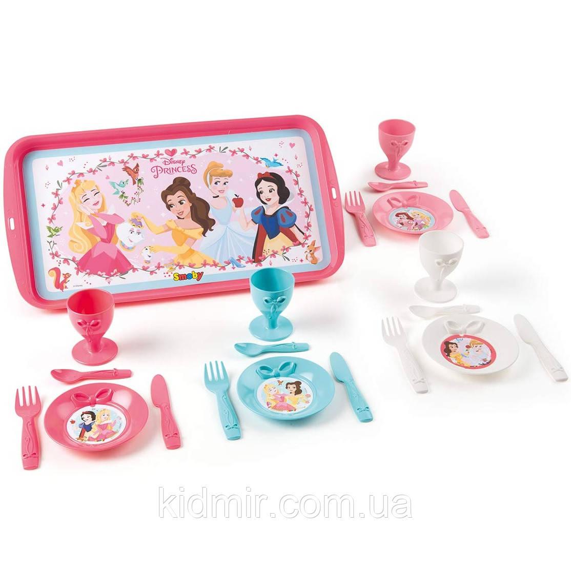 Посудка Полдник с подносом Принцессы Диснея Disney Princess Smoby 310575