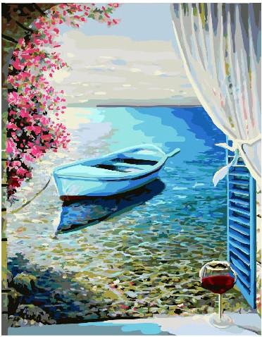 Картина по номерам Лодка у лоджии, 40x50 см., Brushme