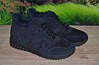 Ботинки кожаные (замша) на цигейке А1 темно синие размер 37