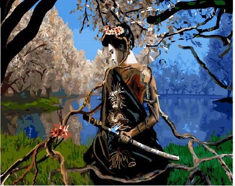 Картина по номерам Самурай под сакурой, 40x50 см., Brushme