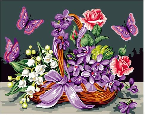 Картина по номерам Бабочки у корзины с цветами, 40x50 см., Brushme