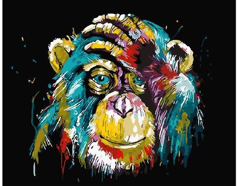 Картина по номерам Красочная шимпанзе, 40x50 см., Brushme