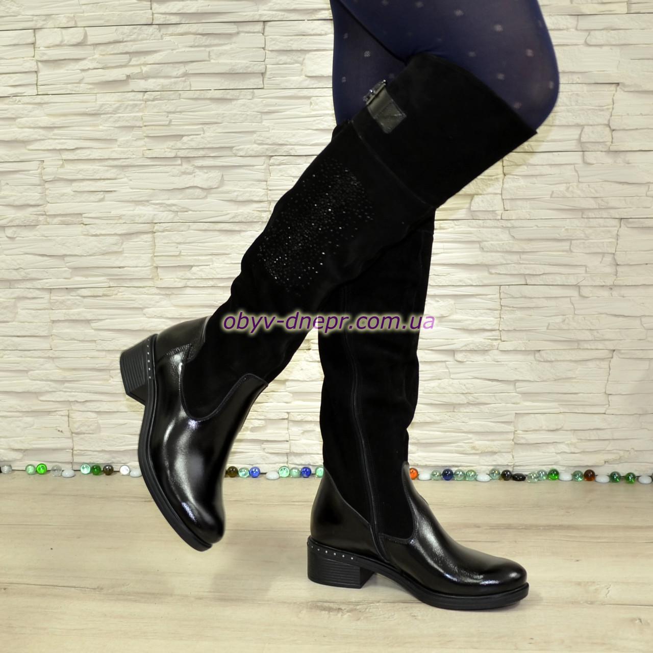 Ботфорты женские зимние на каблуке, декорированы камнями, натуральный лак+ замш
