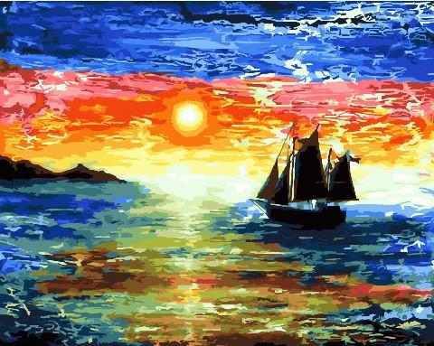 Картина по номерам Парусник плывущий на фоне заката, 40x50 см., Brushme