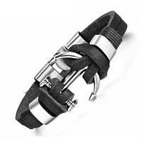 Кожаный браслет с якорем унисекс тип 2