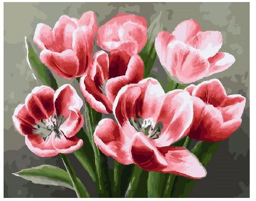 Картина по номерам Красные тюльпаны, 40x50 см., Brushme