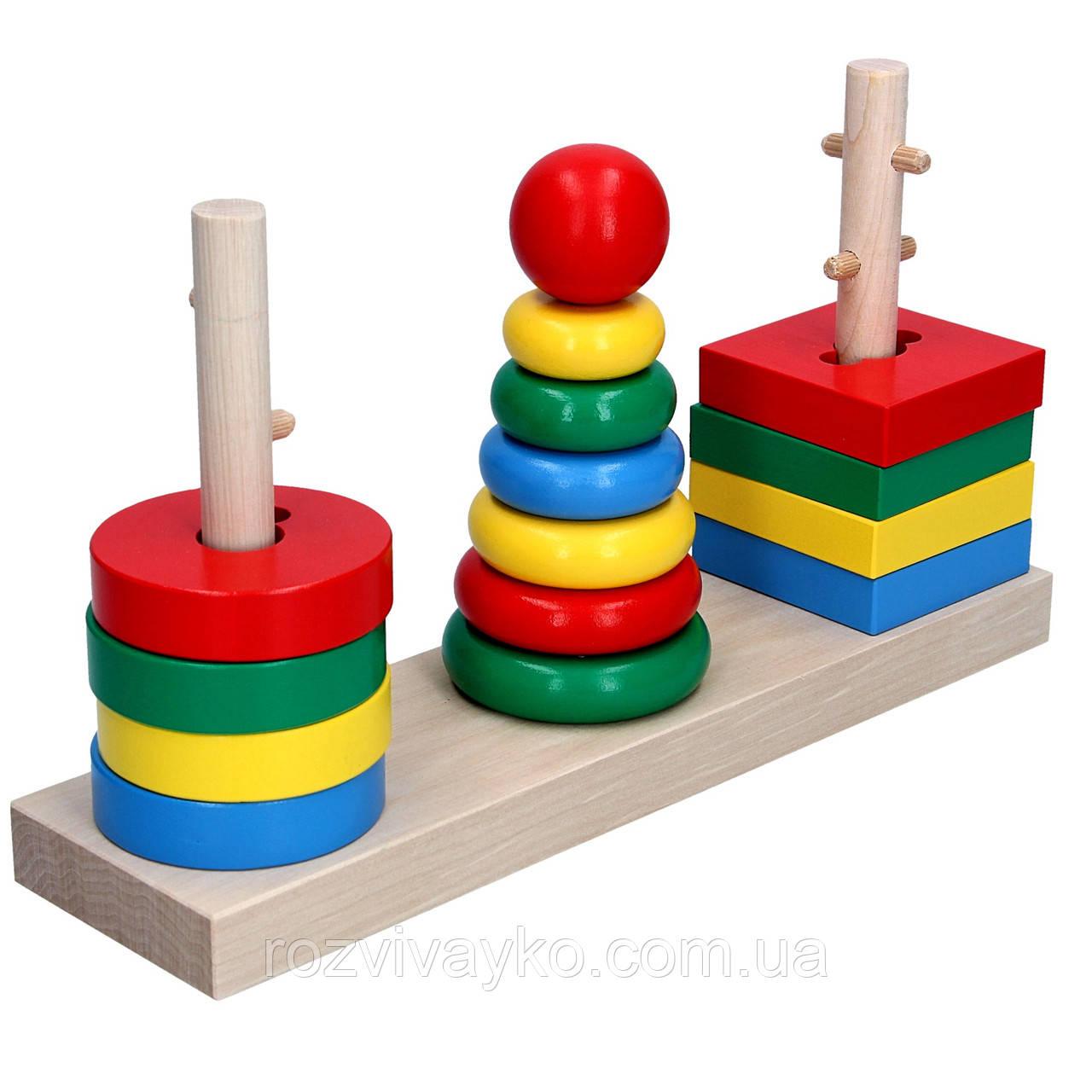 Деревянная логическая пирамидка 3 в 1 KomarovToys