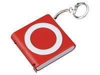 Брелок-рулетка с фонариком, 1 м., красный/белый (719451_OS)