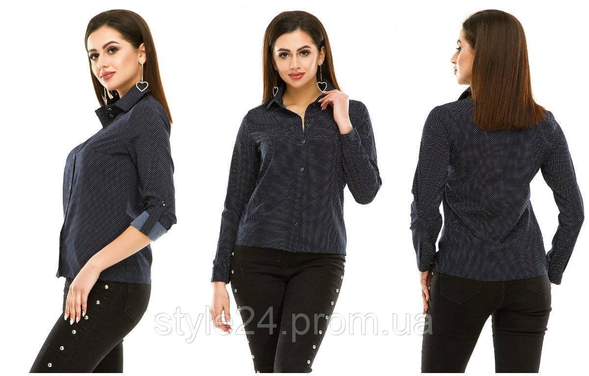 ЖІноча стильна блуза в горох .Р-ри 44-48