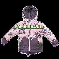 Куртка парка р 98-104 3 4 года весна осень для девочки детская весенняя осенняя термо на флисе 3395 Розовый