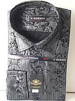 Рубашка мужская Emerson vd-0007 чёрная приталенная в узор нарядная с длинным рукавом
