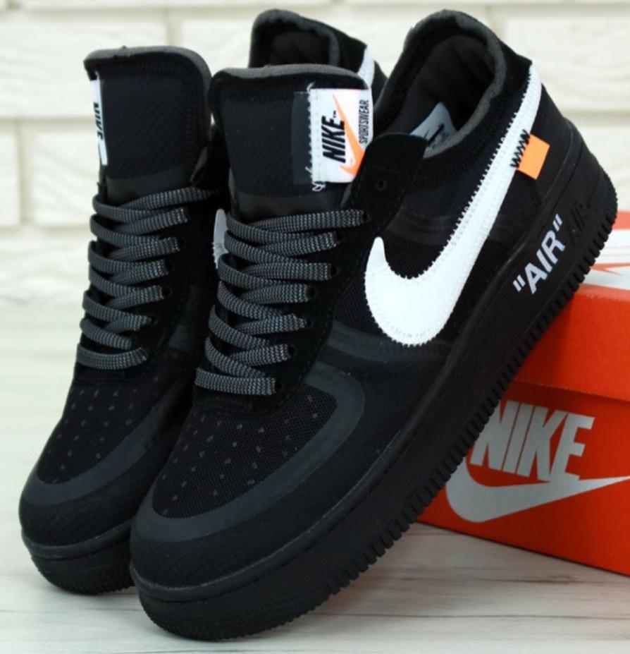 Мужские Кроссовки Nike Air Force 1 Black Off-White X