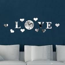 """Часы-аппликация зеркальные """"LOVE"""". Настенные часы."""