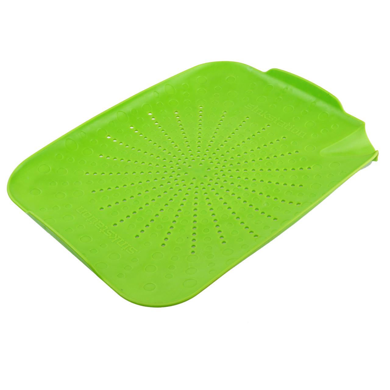Пластиковый коврик-дуршлаг для раковины (зеленый)