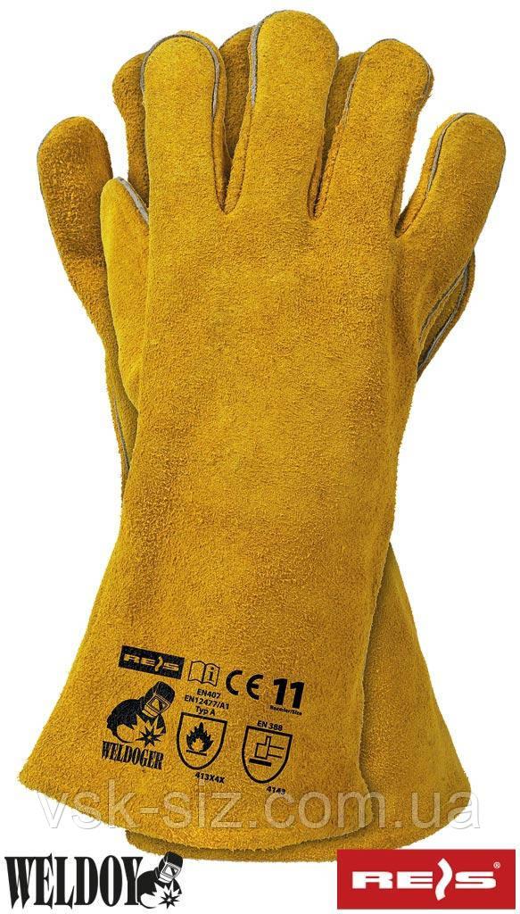 Перчатки cпилковые крага желтая REIS WELDOGER