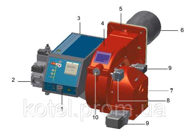 Схема устройства прогрессивной газовой горелки Unigas P 71 MD ES