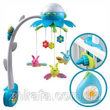 Музыкальный мобиль-проектор Smoby Cotoons Цветок с пультом, голубой