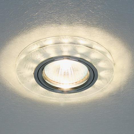 Светильник встраиваемый с LED подсветкой Feron 8686-2  серебро под лампу Mr16