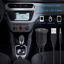 Крепление USB-кабеля ADPOW USB 3.0 и 3,5 мм AUX для монтажа в автомобиле, фото 2