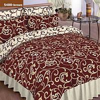 Евро постельное белье ранфорс коричневый вензель Вилюта Viluta 100 % хлопок