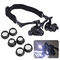 Лупа-очки бинокулярные  9892GJ (10x/15x/20x/25x) c LED подсветкой, фото 1