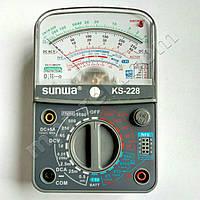 Мультиметр аналоговый SUNWA KS-228 (1000В, DC5A, 2МОм, hFE, прозвонка,тест батарей)