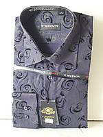 Рубашка мужская Emerson vd-0011 чёрная приталенная в узор с длинным рукавом