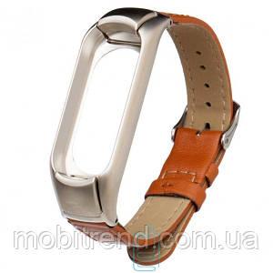 Ремешок Xiaomi Mi Band 3 Leather коричневый