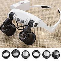 Лупа-очки бинокулярные 9892GJ-3A (10x/15x/20x/25x) c LED подсветкой, фото 1