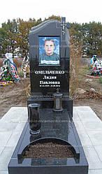Гранитный памятник с крестом и фотокерамикой № 2