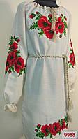 Платье вышитое для девочки (машинная вышивка) лляное
