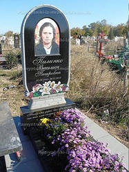 Памятник корзина с цветами с фото на керамике № 3