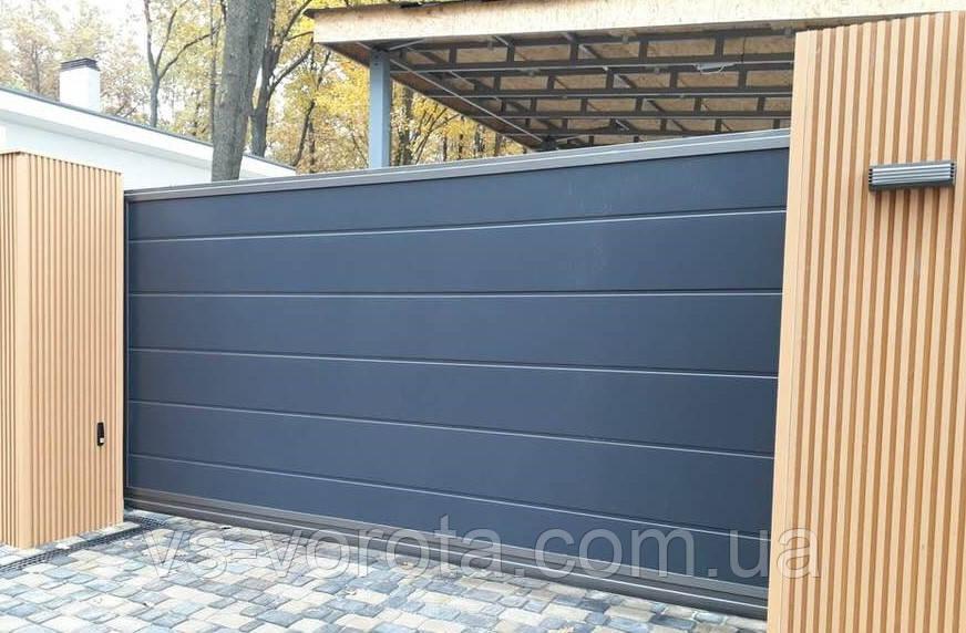 Ворота откатные из профнастила, Изготовление, размер 3500х2300 мм