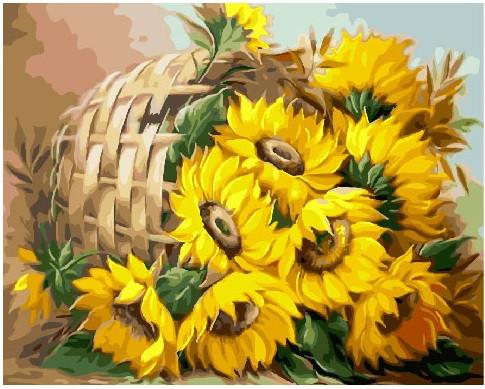 Картина по номерам Подсолнухи в корзине, 40x50 см., Brushme