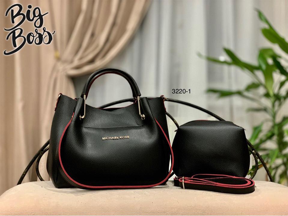 ede2aa540bfe Женская сумка и клатч комплект Черная с красным ремешком Michael Kors копия