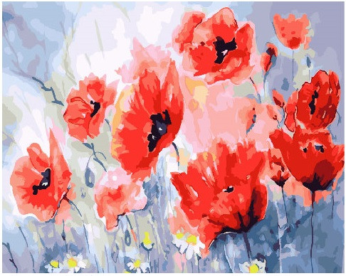 Картина по номерам Маки в аквареле, 40x50 см., Brushme