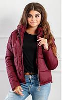 Модная женская курточка бордового цвета
